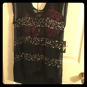NWT Jessica Simpson sequined see-through top